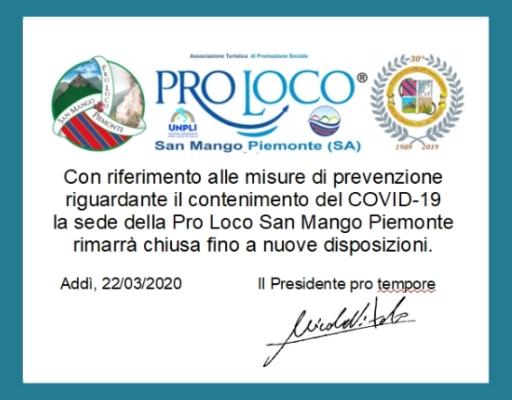 Coronavirus: chiusura sede Pro Loco